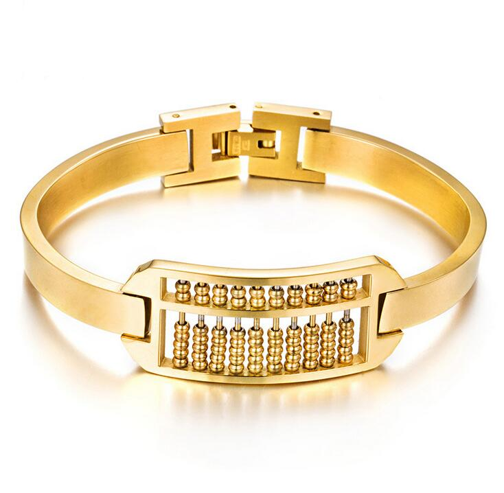 New Unique Bulgaria Gold Color Abacus Charm Bracelets Bangle For Women Men Titanium Stainless Steel New Fashion Design Wristband