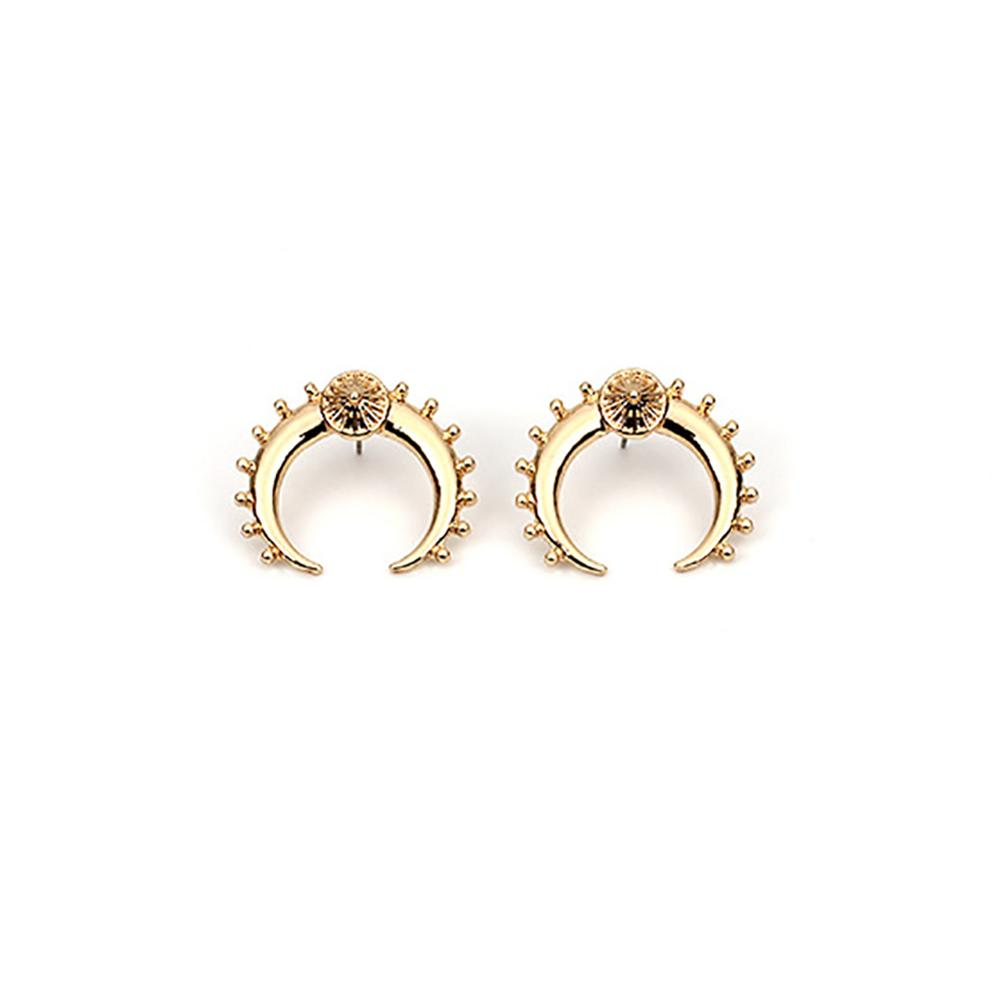 New Vintage Gold Silver Color Crescent Moon Earrings for Women Tribal Antique Brass Moon Stud Earrings Jewelry #258095