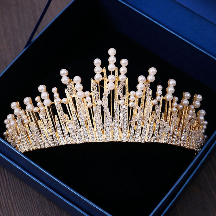 New Vintage Multilayers Luxury Silver Gold Crystal Pearl Tiara Crown Wedding Hair Accessories Bridal Party Jewelry Big Headbands