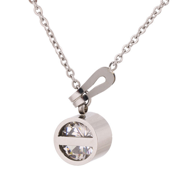 New arrival Stainless Steel Jewelry women Pendant crystal necklace chain Lady Jewelry two color