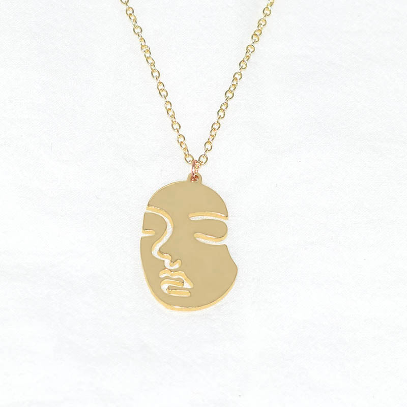 New style simple and joker abstract face necklace Human Face Statement Pendant Necklace Gold/Silver Plated Jewelry For Women