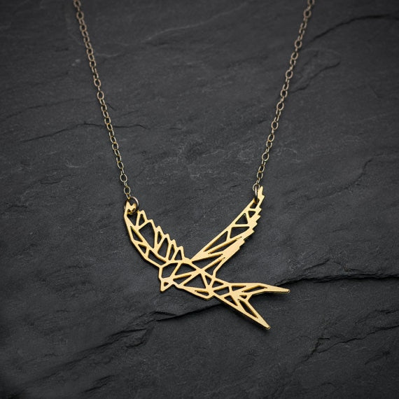 NianDi Bird Necklace Swallow Necklace Geometric Martin Bird Origami Necklace Mujer Necklace&Pendants Party Accessories YLQ0548