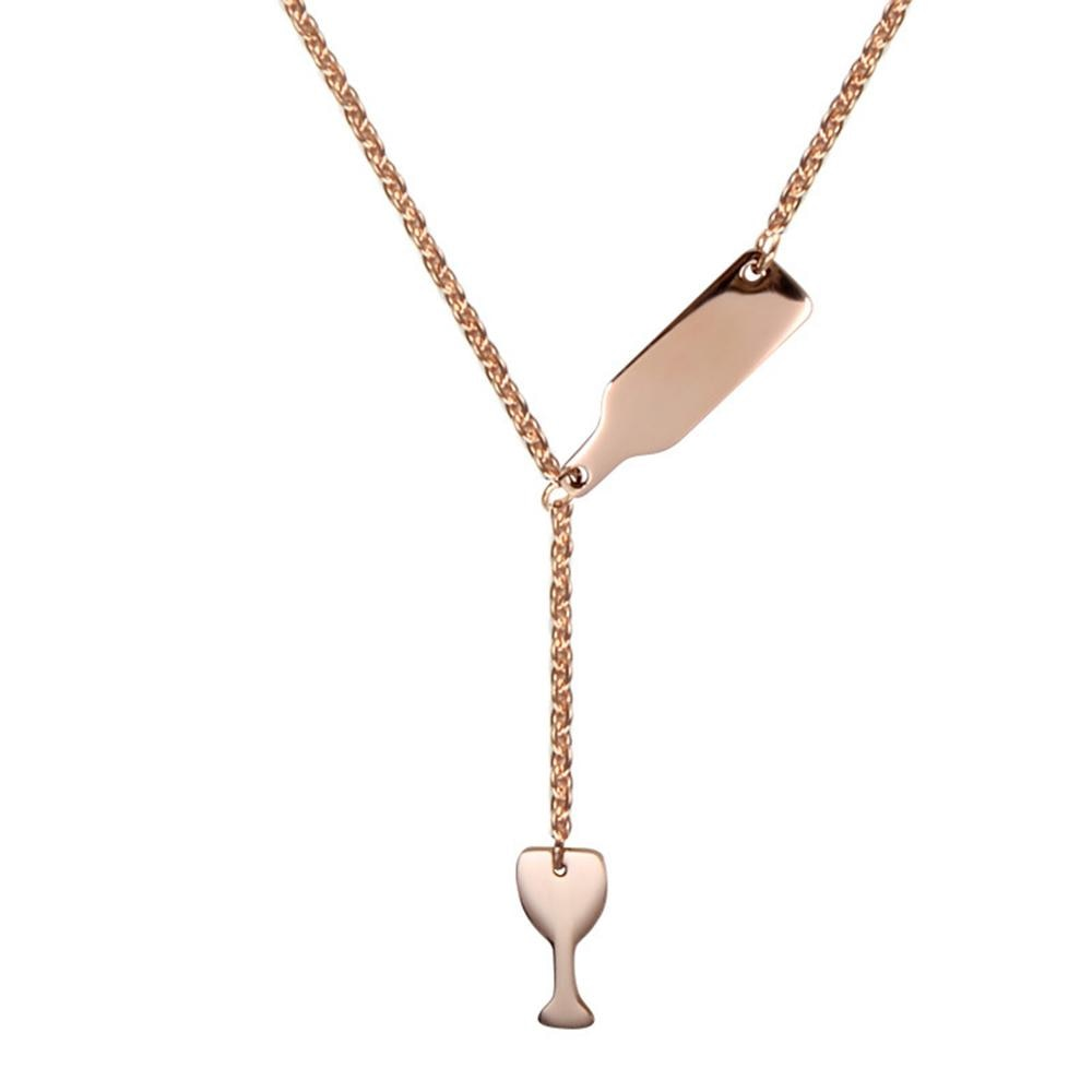 Beer Cup Long Pendant Necklace For Women Wine Bottle Silver/Rose Gold Fashion Jewelry