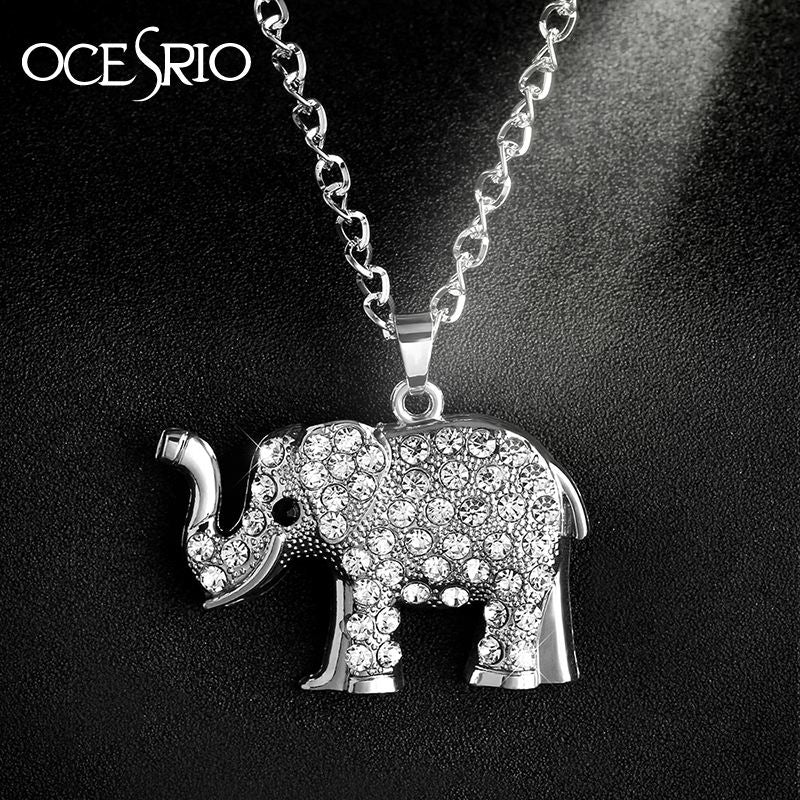 AAA Crystal Elephant Necklaces Pendants Silver Chain Necklace Big Long Necklace for Women Jewelry Bijoux nke-n24