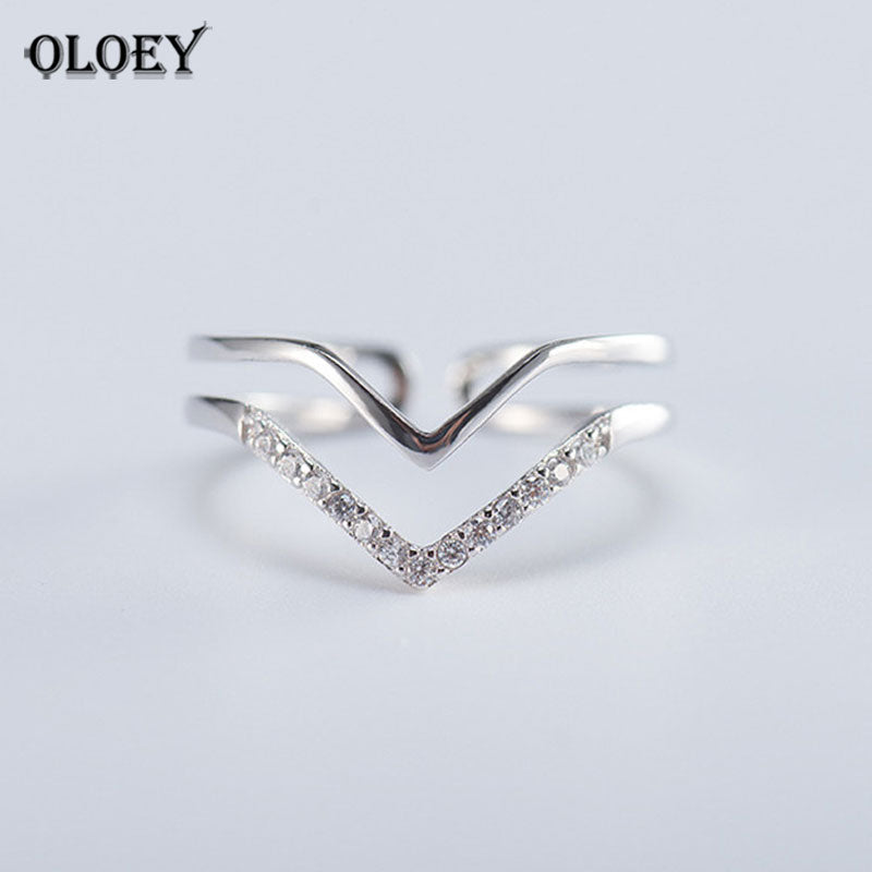 100% 925 Sterling Silver Triangle Rings For Women Finger Double Letter V Shape Geometric Ring Bague Fine Jewelry MR480