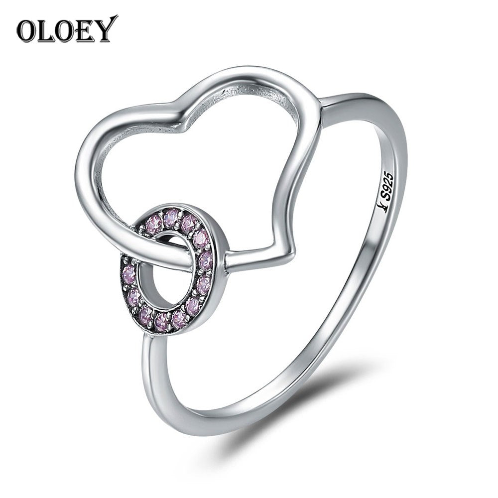Heart Round Circle Finger Rings for Women Real 925 Sterling Silver Wedding Band Promise Ring Fine Jewelry Gifts YMR194