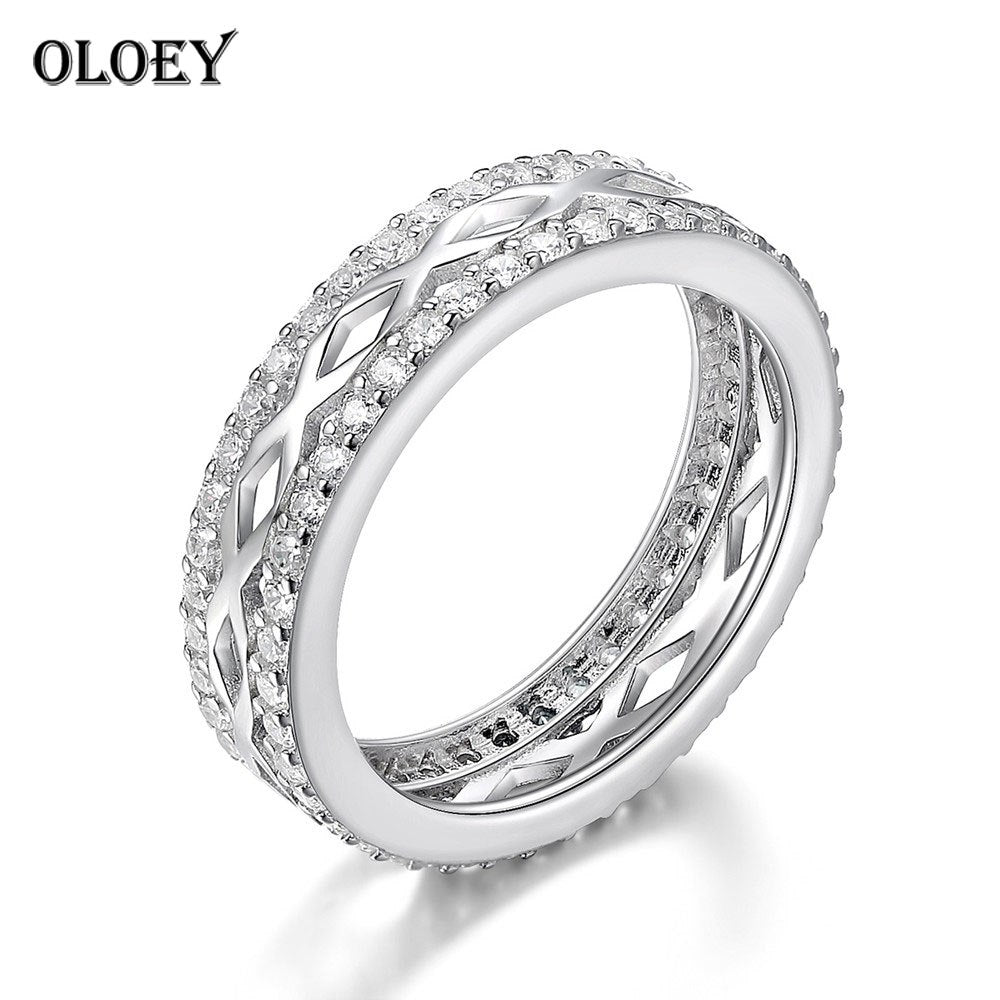 Letter X Clear CZ Stackable Rings for Women Genuine 925 Sterling Silver Finger Ring Bague Fine Party Jewelry Anel YMR186