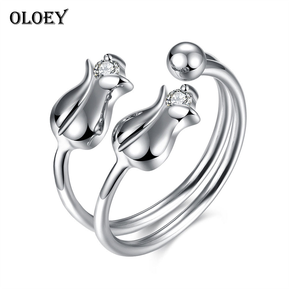 Real 925 Sterling Silver Rings Jewelry for Women Chic Double Tulip Open Ring Anelli Ladies Birthd Party Gift YMR013