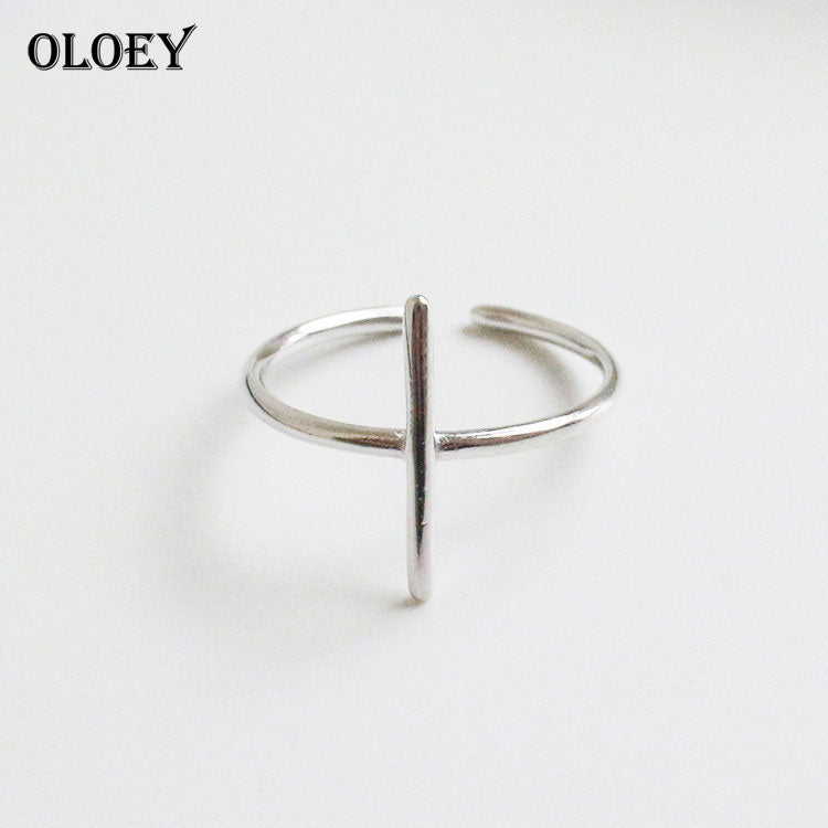 Simple Cross Shape Open Rings for Women Pure 925 Sterling Silver Finger Adjustable Ring Fine Accessories Jewelry YMR071