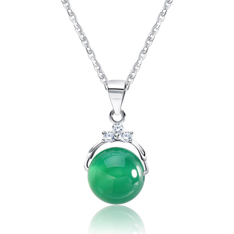ORSA JEWELS Fashion 925 Sterling Silver Pendant Necklaces with Shiny Green Natural Stone for Women Genuine Silver Gift SN01