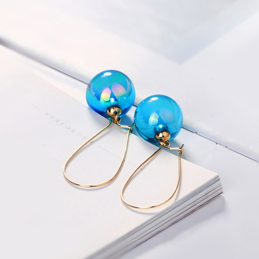 Office Lady Simulated Pearl Hoop Earrings For Women Fashion Brand Industrial Piercing Colorful Beads For Jewelry Making DFE218M