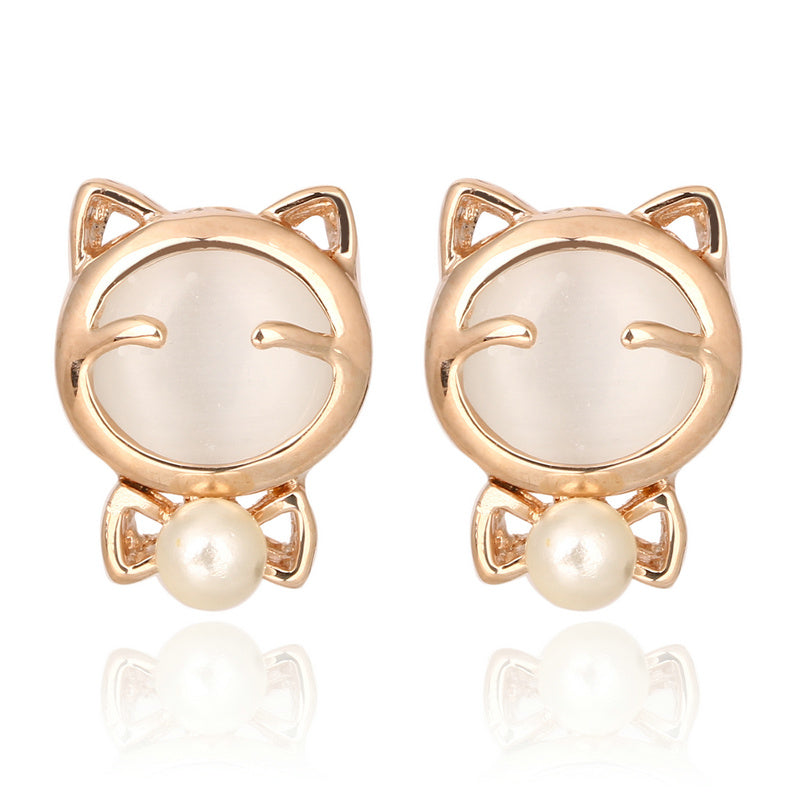 Opal Stone Simulated Pearl Love Stud Earring For Women Wholesale Rose Gold Color Fashion Brand Jewelry brincos DWE152