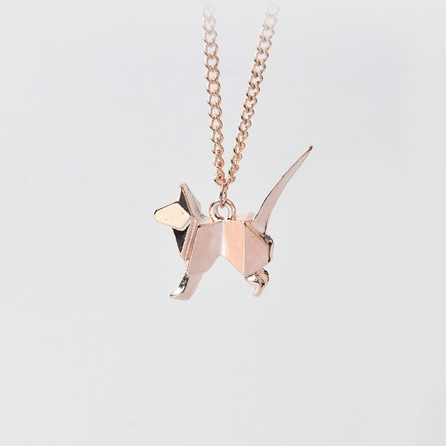 Origami C Kitty Dog Silhouette Pendant Necklace For Women Men Rose Gold Silver Black Minimalist Creative Animal Jewelry Gift