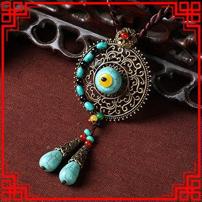 Original Design vintage Bohemian necklace ,exaggerate stones ethnic jewelry ,handmade brided long sweater  necklace green