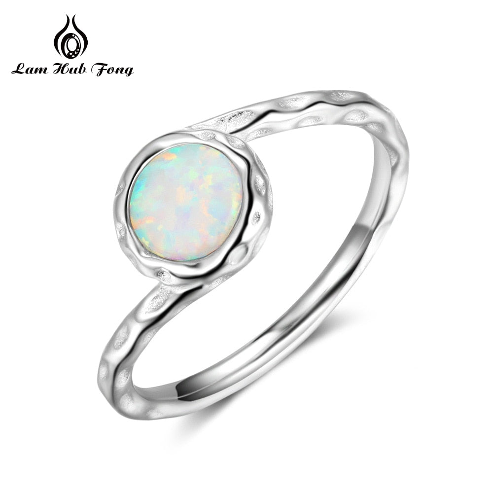 Original Rings 925 Sterling SILVER Elegant Round Opal Stone Thin Dainty Cute Girls Women Ring Silver for Women Wholesale