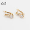 PATAYA Romantic Bride Long Earrings 585 Rose Gold White Round Natural Zircon Women Fashion Jewelry Accessories Wedding Earrings
