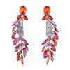 PPG&PGG Brand New Fashion Crystal Bride Wedding Boho Dangle Earrings Statement Jewelry Luxury Glass Leaf Women Earrings