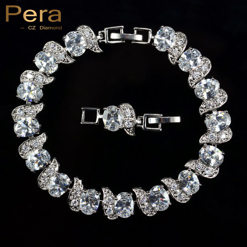 Pera Luxury 925 Sterling Silver Bridal Wedding Party Jewelry Super White Cubic Zirconia Chain & Link Bracelet For Brides B081