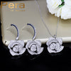 Pera Romantic Rose Flower Earrings And Necklace Big Bridal Wedding Party Cubic Zirconia Jewelry Sets Lovely Gift For Brides J197