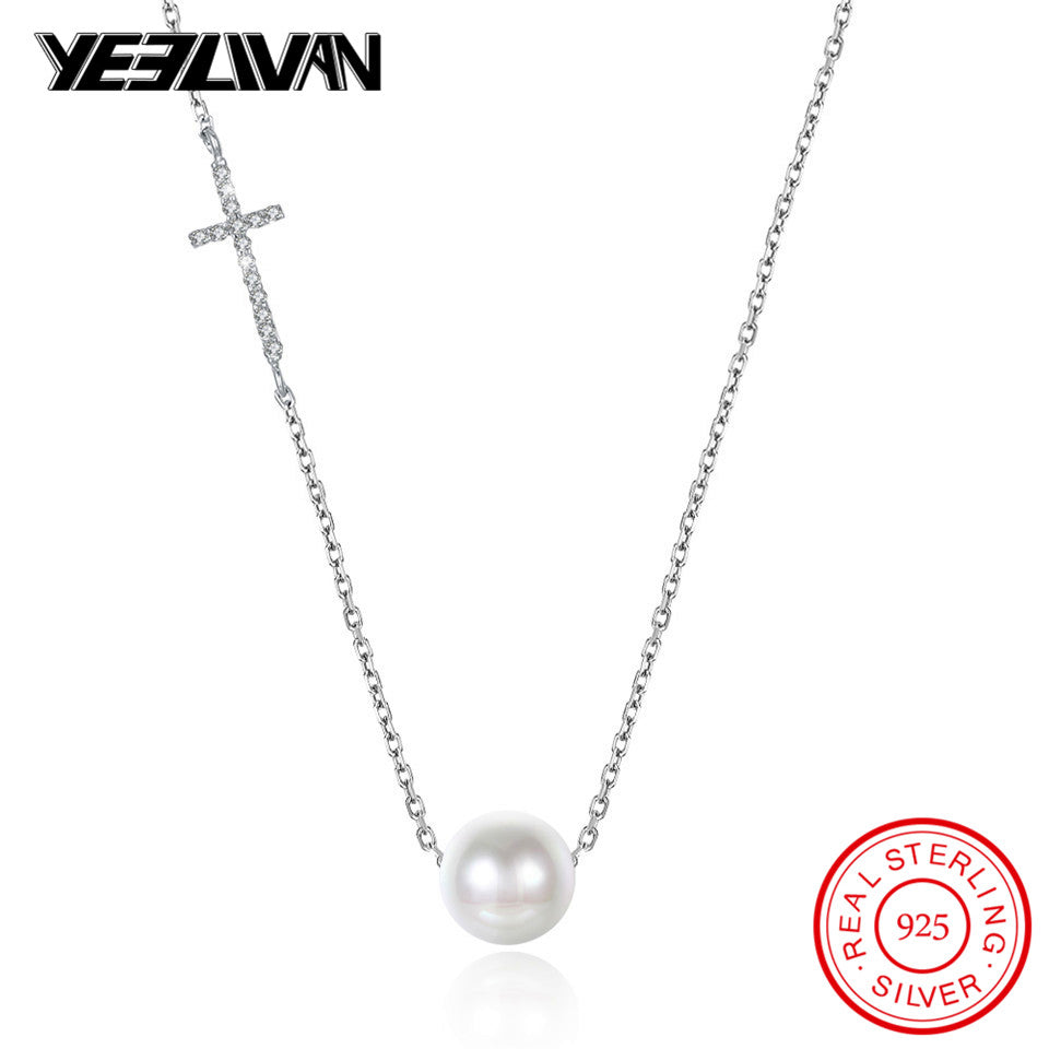 Personality Crystal Cross Female Short Necklace 925 Sterling Silver Jewelry Sweet Simple Wild Pearl Pendant Necklace for Women
