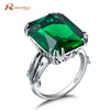Popular Party Vintage Finger Rings Lab Emerald CZ Stone Pure 925 Sterling Silver Ring for Women Gifts Fine Jewelry Size 4 11