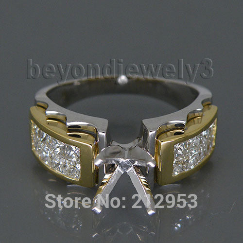 Princess 5x5mm Solid 18kt Two Tone Gold 1.28Ct Setting Wedding Ring For Men Women