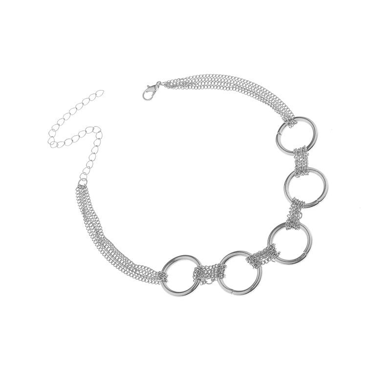 Punk Style Zi Alloy Fine Chain Link Iron Circles Choker Necklace for Women Neck Collar Statement Necklace Jewelry
