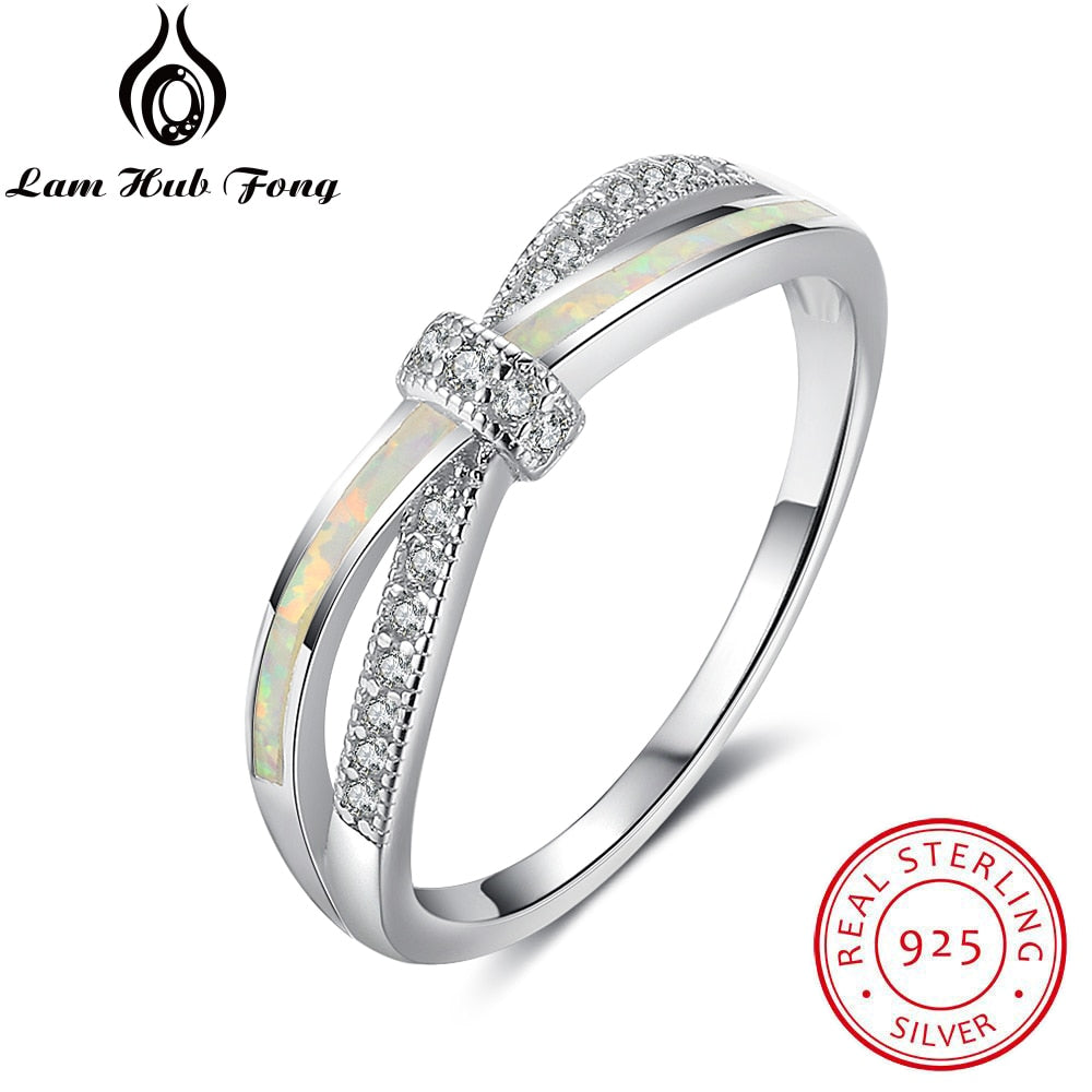 Pure 925 Sterling Silver Rings For Women Knot Design Girls White Fire Opal zircon Fashion Jewelry Wholesale Gifts