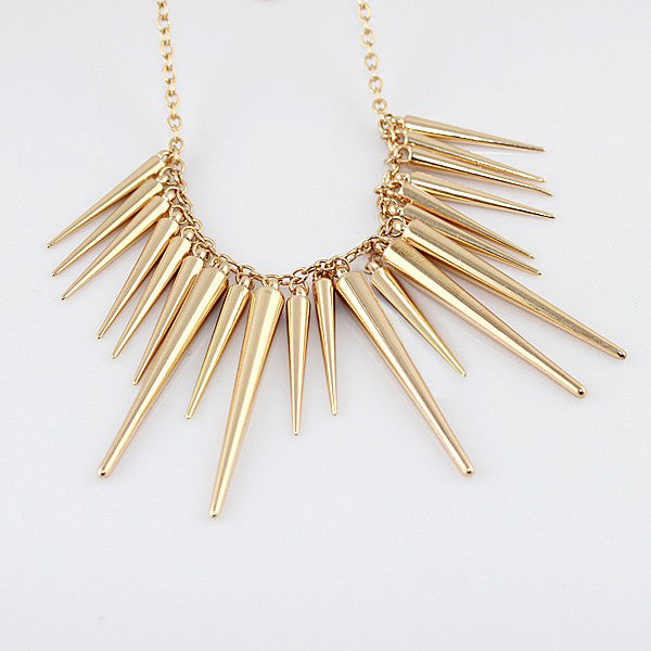 2020 New Jewelry Steampunk Pendant Necklace Gold Silver Color Chain Spike Maxi Necklaces & Pendants For Women