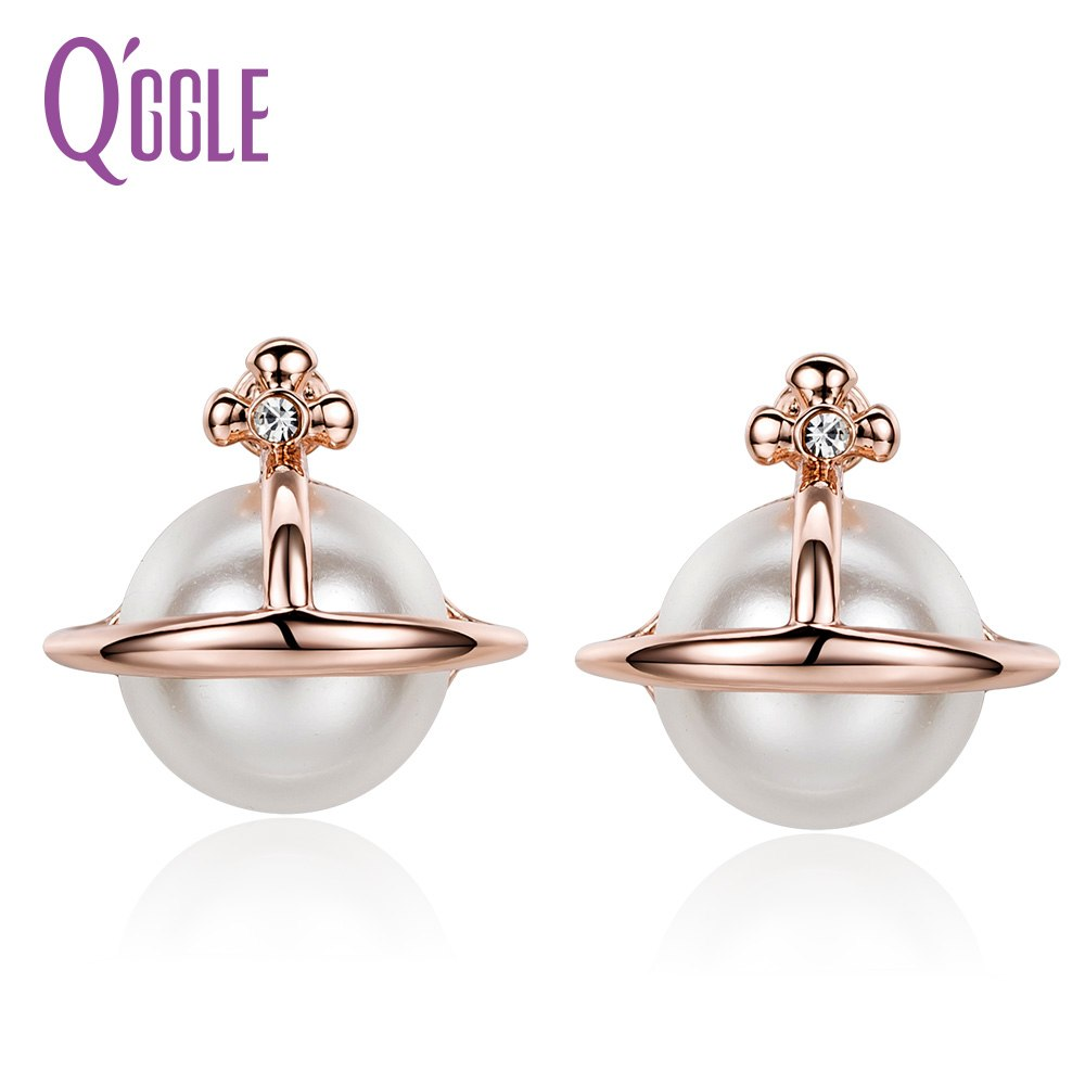 QGGLE Brand Rose Gold Color Alloy Simulated Pearl Simple Stud Earrings for Women Girls Birthd Gift