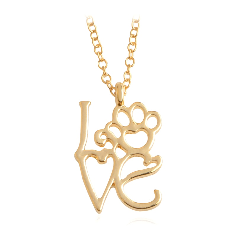 Gold Silver 2 Color Love&Paw Pendant Necklace Animal Pet Memorial Puppy Dog Bear Cat Lover Christmas Gift