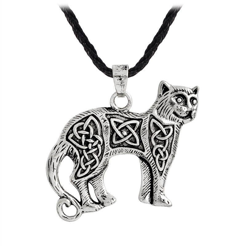 QIHE JEWELRY Viking necklace Ancient silver bronze cat pendant necklace Slavic viking amulet Nordic talisman jewelry.