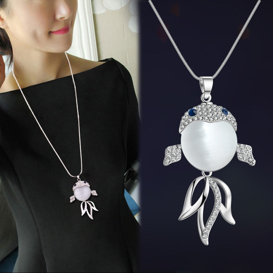 RAVIMOUR 2018 Animal Dog Pendant Necklaces for Women Jewelry Fashion Crystal Opal Long Necklace Silver Color Chain Collar Bijoux