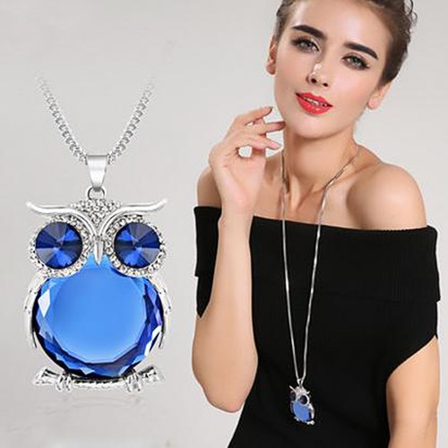 RAVIMOUR 2020 Animal Dog Pendant Necklaces for Women Jewelry Fashion Crystal Opal Long Necklace Silver Color Chain Collar Bijoux