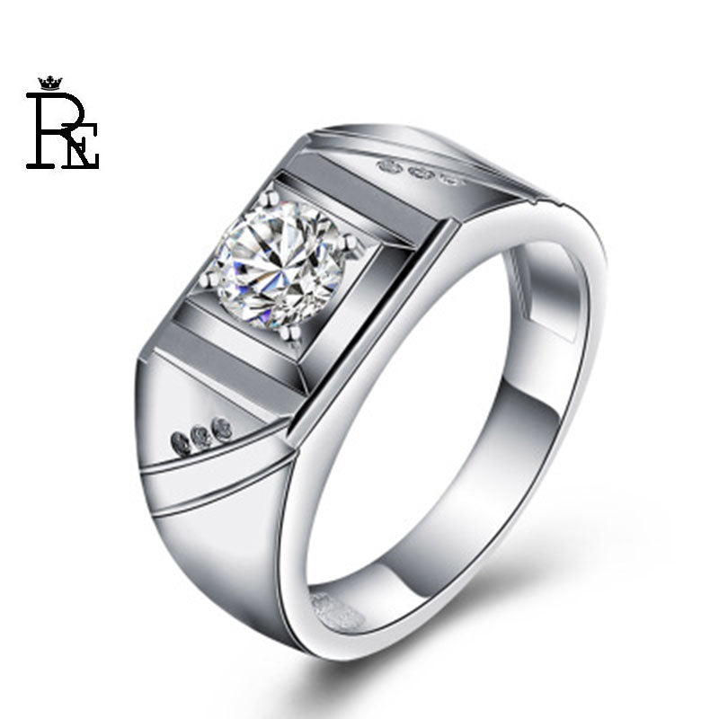 RE New Fashion 30% Silver AAA Zircon Ring For Men Male Metal Plated Scrub Thumb Rings Gifts Husband Gift