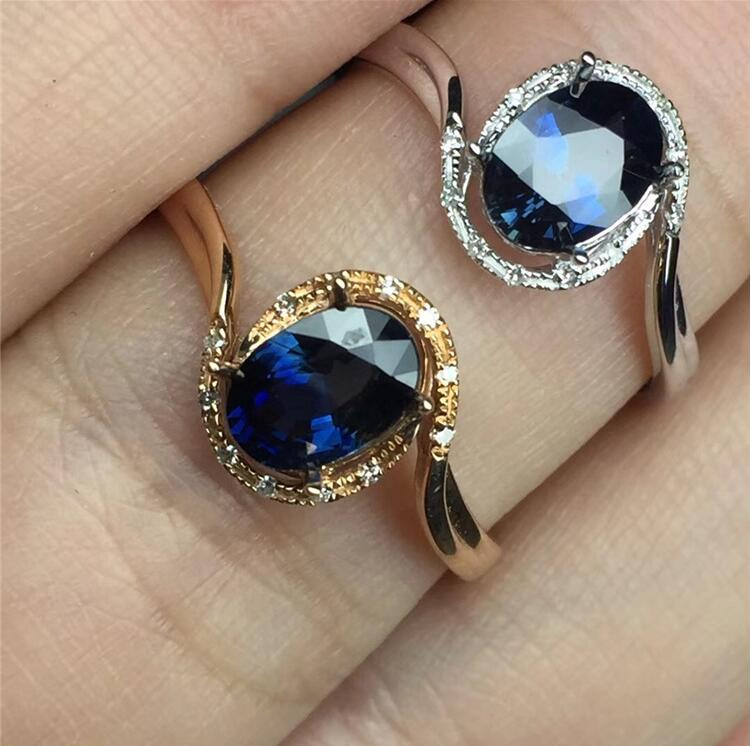 REAL 18K Gold Ring 100% Natural Sapphire Ring Real blue sapphire Fine jewelry Blue gem 5*7mm gem