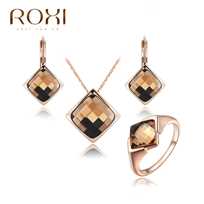 Brand New Jewelry Sets for women Crystal Necklace Earrings Ring Rose Gold Jewelry Women Elegant Vintage Bridal Jewelry Set
