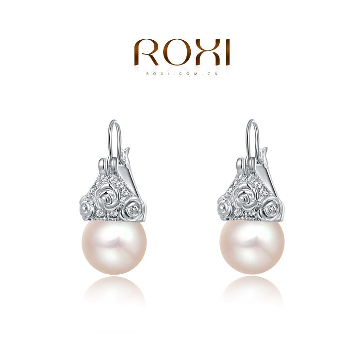 Brand New Womens Rose Gold Platium Color Earrings Pearl Pendant Earring Stud Earrings Women Party Wedding Jewelry
