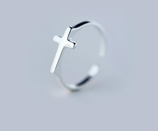 Real. 925 Sterling Silver Sidew Cross Ring religion jewelry adjustable GTLJ1116