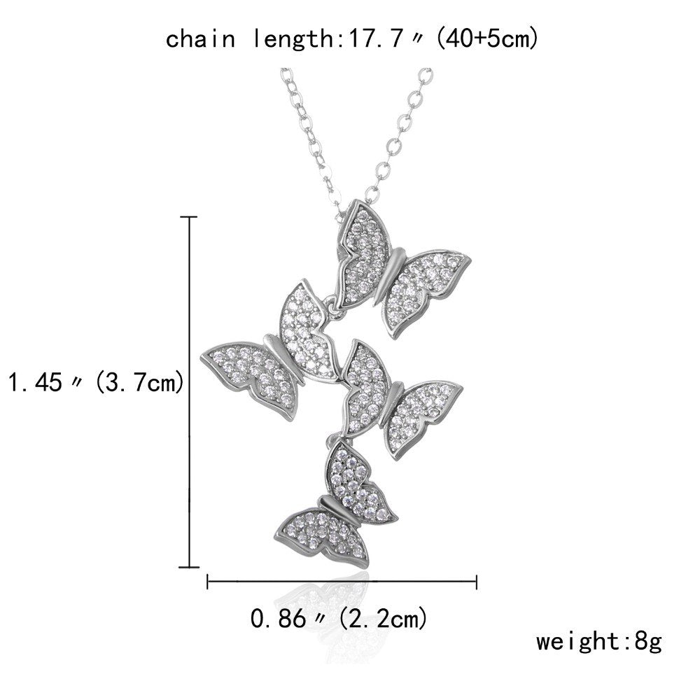 Real 925 sterling silver long zircon butterfly necklaces pendant fashion silver-jewelry statement necklace for Women