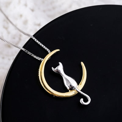 Real Pure 925 Sterling Silver Moon Animals Necklaces Pendant Long Kitty Necklace For Women Hot Fashion sterling-silver-jewelry