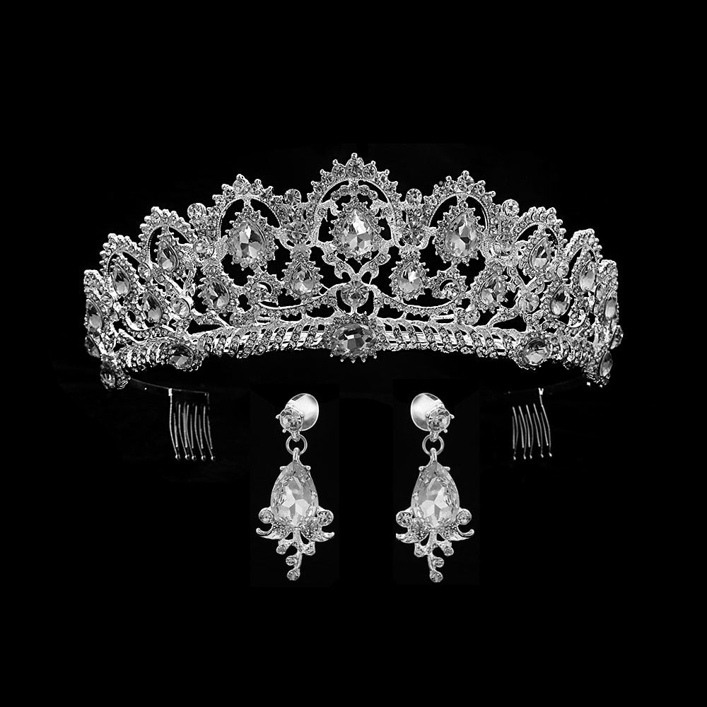 Red Queen crown Crystal bridal Tiaras bride crown and earrings Baroque headband Wedding Accessories diadem hair jewelry ornament