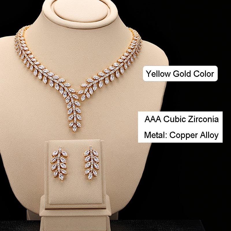 Luxury Sparkly AAA Cubic Zirconia Bridal Jewelry Sets, Fashion Wedding Necklace and Earrings Sets