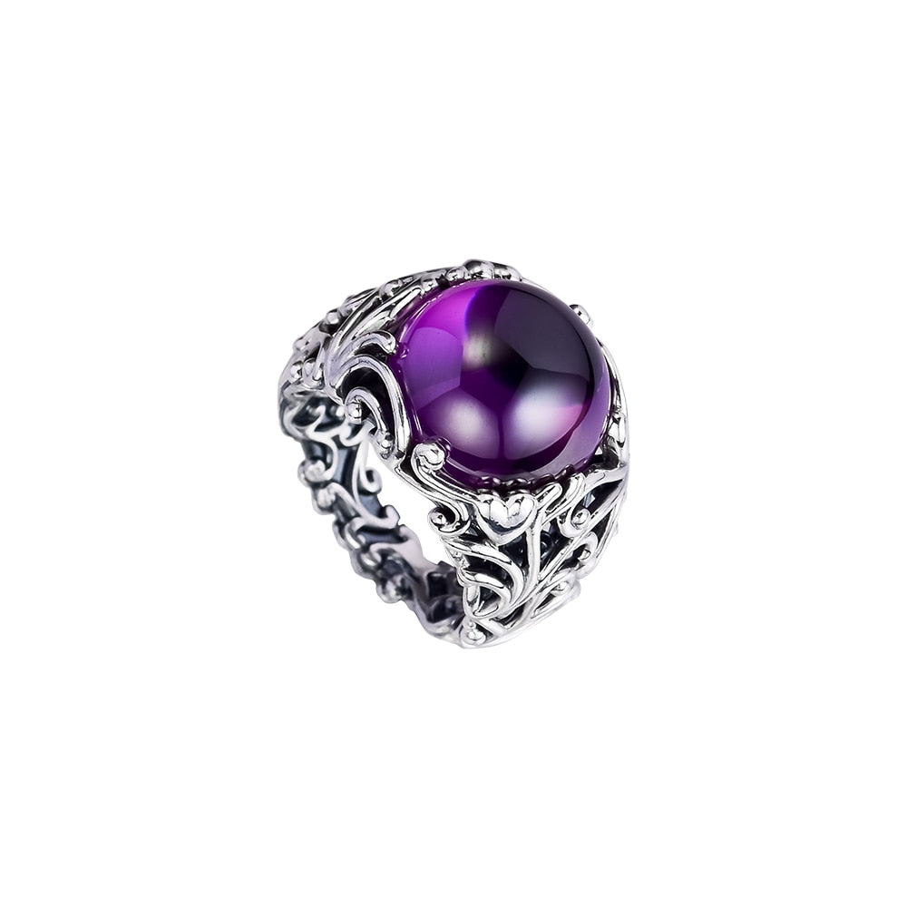 Ring Purple Regal Dazzling Beauty Silver Rings For Women Men Anel Feminino 100% 925 Jewelry Sterling Silver Anillos Wedding