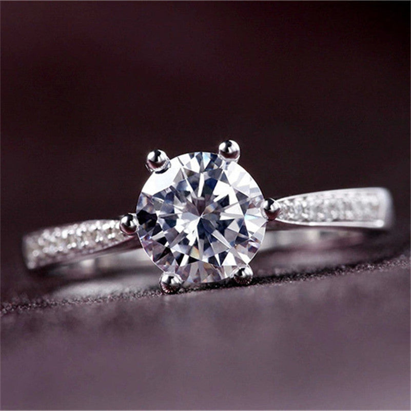 Rings For Women S925 Sterling Silver Propose Bridal Wedding Engagement Ring Round Stone Cubic Zirconia Bijoux Femme Accessories