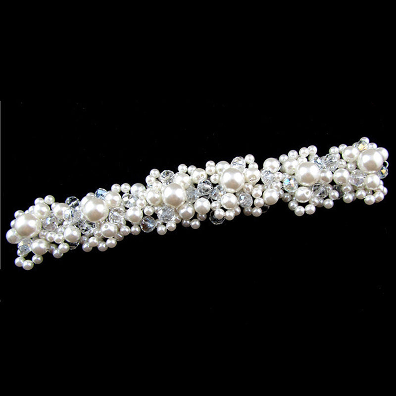 Romantic Wedding Hair Accessories For Bride Crystal Pearl Flowers Headbands Fashion Women Tiaras Hair Crown Trendy Hair Jewelry