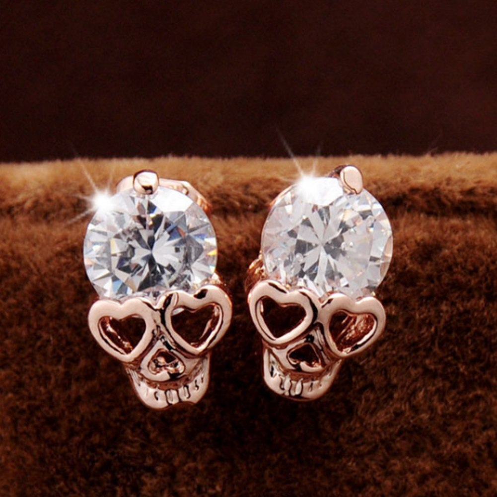 Rose Gold Color Stud Earrings for Women Skull Crystal Stud Earrings online shopping india Punk Stud Earrings for Women Jewelry