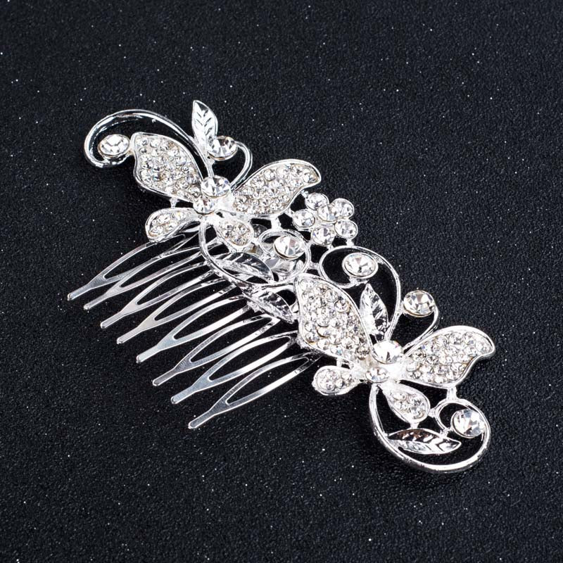 Rose Gold Color Wedding Hair Combs For Bride Crystal Rhinestones Pearls Women Hairpins Bridal Headpiece Hair Jewelry Accessories