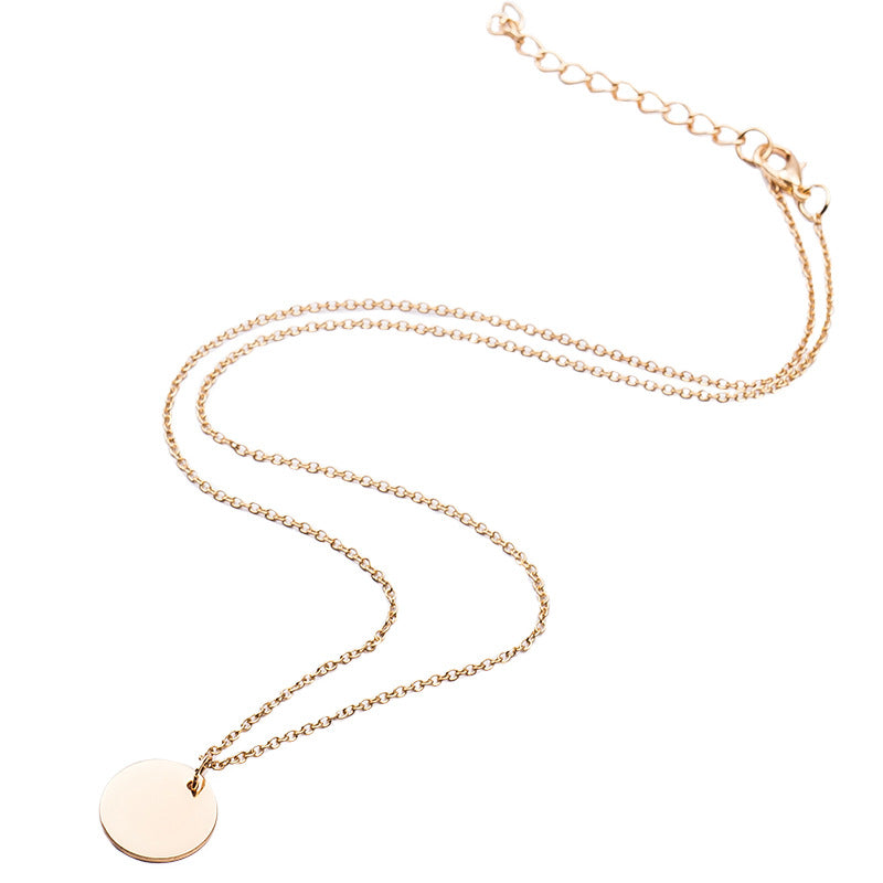 Round Sequins Pendant Necklaces Gold Color Silver Clavicle Link Chain Statement Charm Women Simple Jewelry Accessories Choker