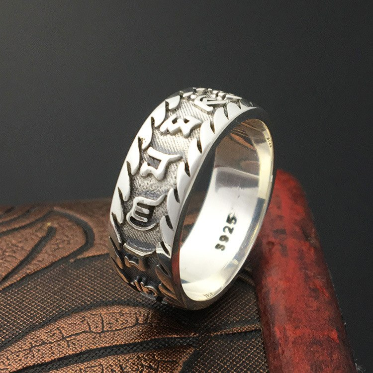 S925 Sterling Silver Jewelry Handicraft Retro Thai Silver Personal Male Fashion Ring
